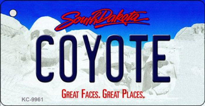 Coyote South Dakota Background Metal Novelty Wholesale Key Chain
