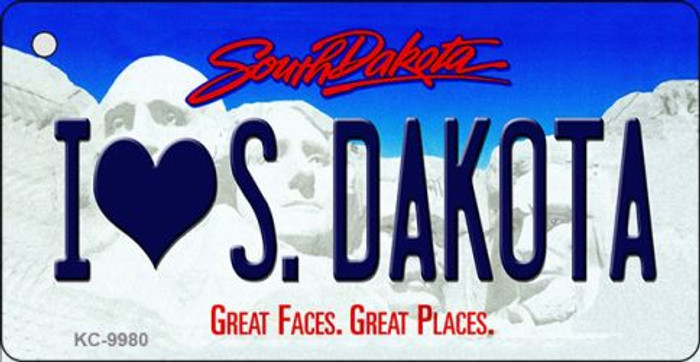 I Love S. Dakota South Dakota Background Metal Novelty Wholesale Key Chain