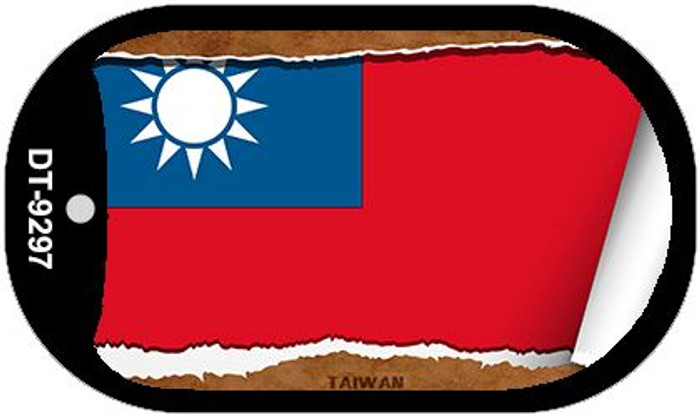 """Taiwan Flag Country Flag Scroll Dog Tag Kit 2"""" Wholesale Metal Novelty Necklace"""