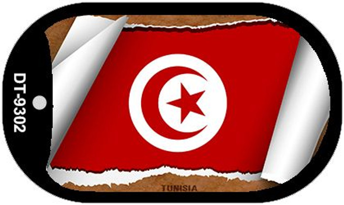 """Tunisia Flag Country Flag Scroll Dog Tag Kit 2"""" Wholesale Metal Novelty Necklace"""