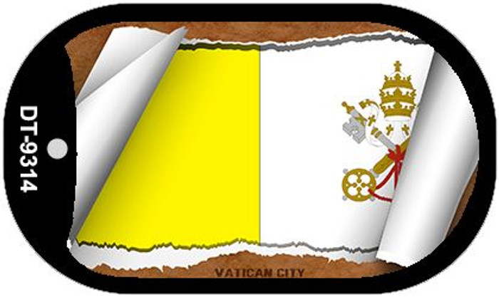 """Vatican City Flag Country Flag Scroll Dog Tag Kit 2"""" Wholesale Metal Novelty Necklace"""