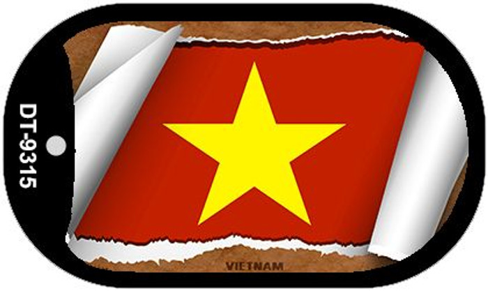 """Vietnam Flag Country Flag Scroll Dog Tag Kit 2"""" Wholesale Metal Novelty Necklace"""