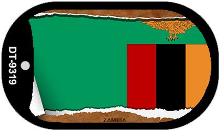 """Zambia Flag Country Flag Scroll Dog Tag Kit 2"""" Wholesale Metal Novelty Necklace"""