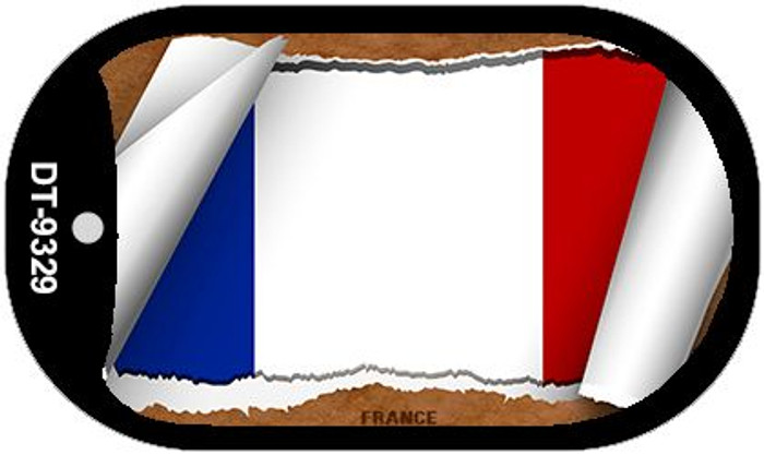 """France Flag Country Flag Scroll Dog Tag Kit 2"""" Wholesale Metal Novelty Necklace"""