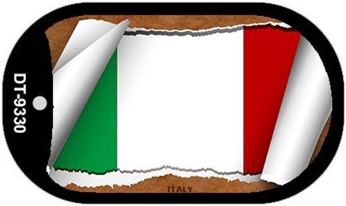 """Italy Flag Country Flag Scroll Dog Tag Kit 2"""" Wholesale Metal Novelty Necklace"""