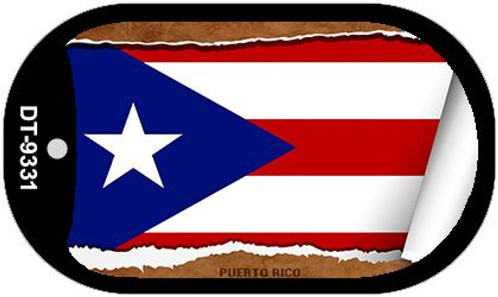 "Puerto Rico Flag Country Flag Scroll Dog Tag Kit 2"" Wholesale Metal Novelty Necklace"