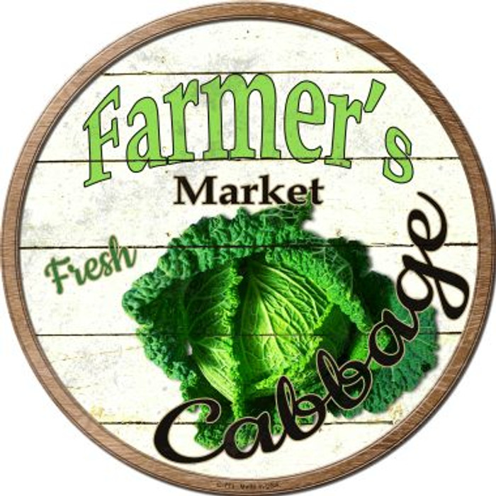 Farmers Market Cabbage Wholesale Novelty Metal Circular Sign