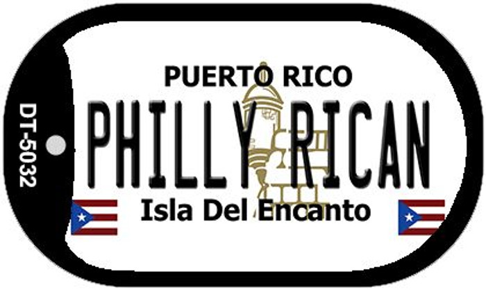 "Philly Rican Puerto Rico Flag Dog Tag Kit 2"" Wholesale Metal Novelty Necklace"