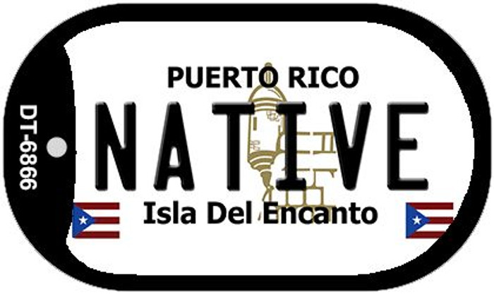 "Native Puerto Rico Flag Dog Tag Kit 2"" Wholesale Metal Novelty Necklace"
