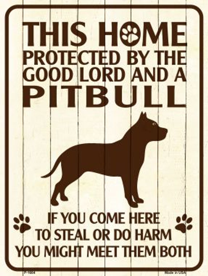 This Home Protected By A Pitbull Parking Sign Metal Novelty Wholesale