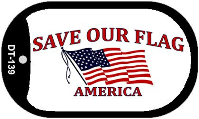 "Save Our Flag Dog Tag Kit 2"" Wholesale Metal Novelty Necklace"