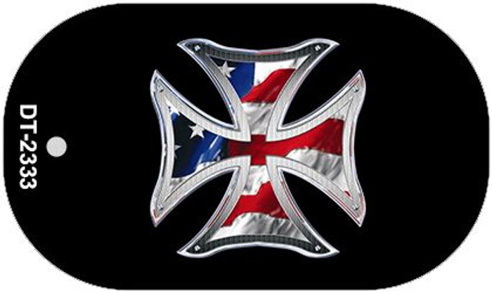 "Maltese Cross American Flag Dog Tag Kit 2"" Wholesale Metal Novelty Necklace"