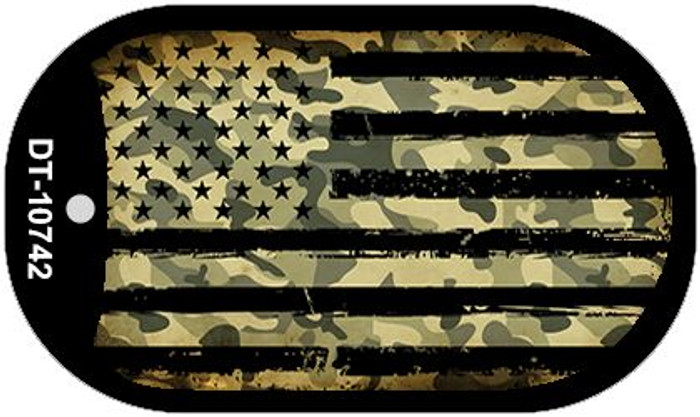 "Camo American Flag Dog Tag Kit 2"" Wholesale Metal Novelty Necklace"