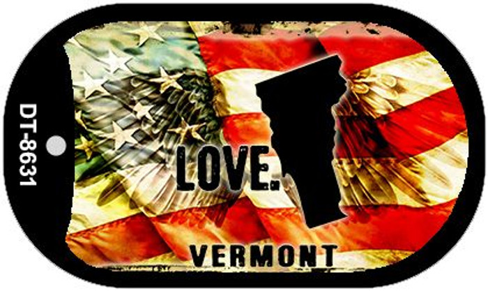 """Vermont Love Flag Dog Tag Kit 2"""" Wholesale Metal Novelty Necklace"""