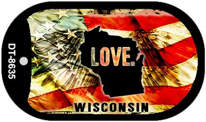 """Wisconsin Love Flag Dog Tag Kit 2"""" Wholesale Metal Novelty Necklace"""