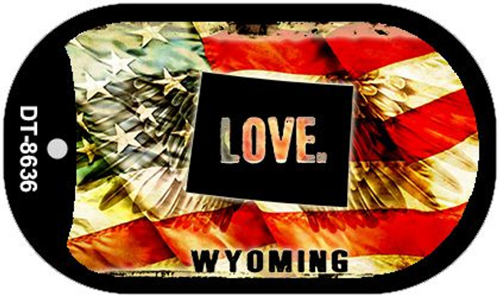 """Wyoming Love Flag Dog Tag Kit 2"""" Wholesale Metal Novelty Necklace"""