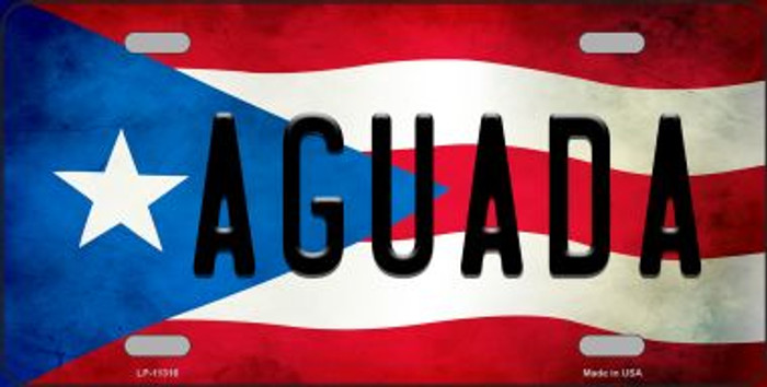Aguada Puerto Rico Flag Background License Plate Metal Novelty Wholesale