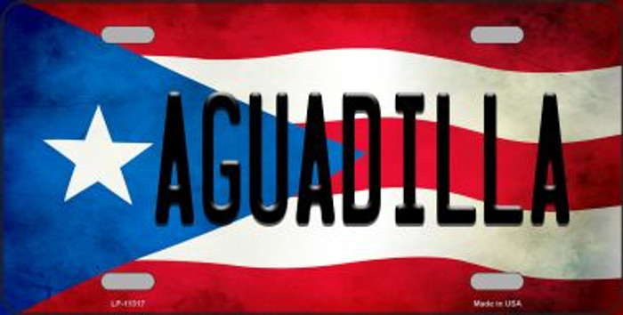 Aguadilla Puerto Rico Flag Background License Plate Metal Novelty Wholesale