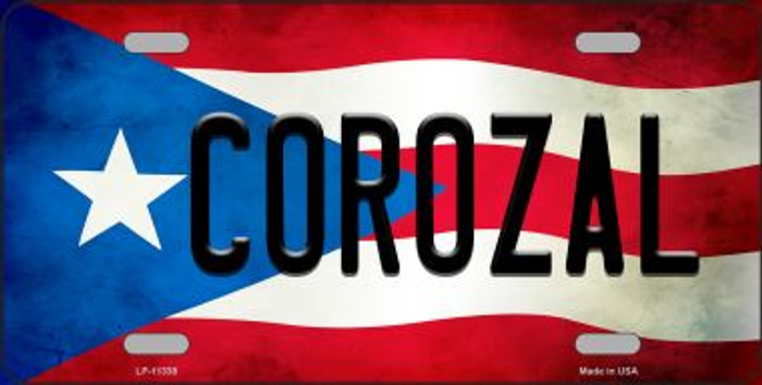 Corozal Puerto Rico Flag Background License Plate Metal Novelty Wholesale