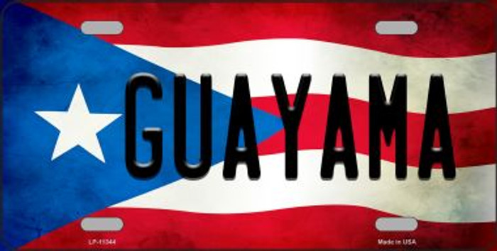 Guayama Puerto Rico Flag Background License Plate Metal Novelty Wholesale