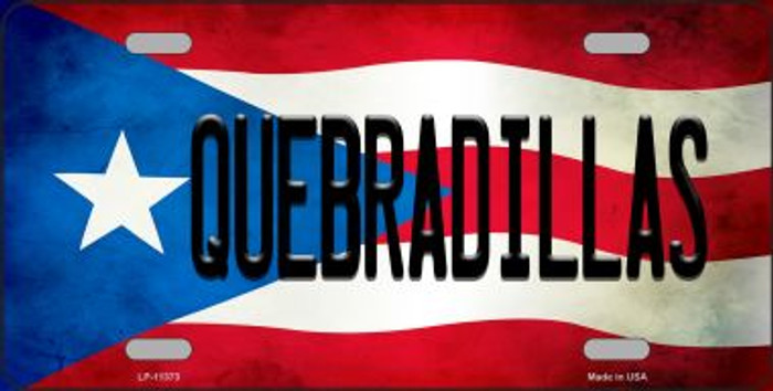 Quebradillas Puerto Rico Flag Background License Plate Metal Novelty Wholesale