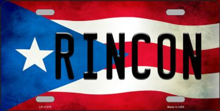 Rincon Puerto Rico Flag Background License Plate Metal Novelty Wholesale