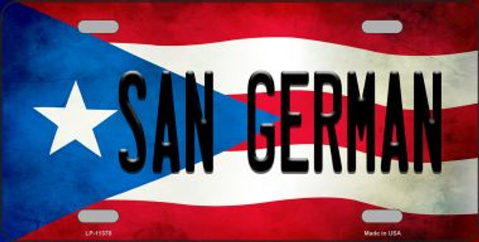 San German Puerto Rico Flag Background License Plate Metal Novelty Wholesale