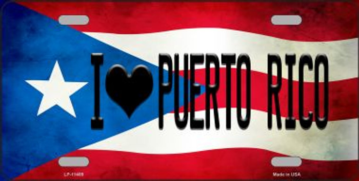 I Love Puerto Rico Flag Background License Plate Metal Novelty Wholesale