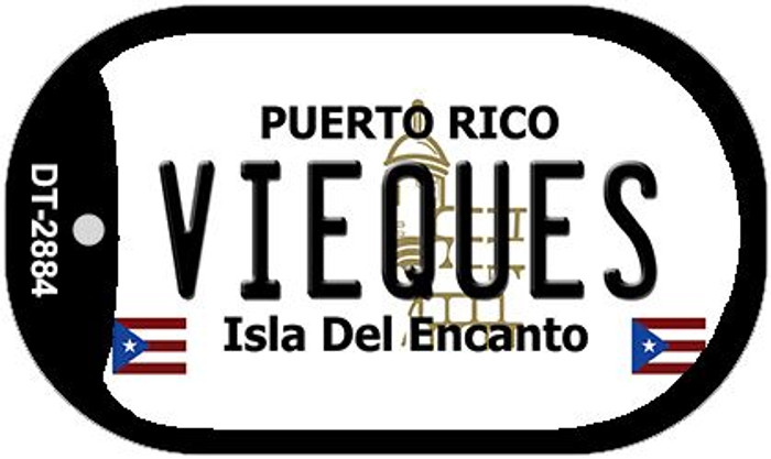 Vieques Puerto Rico Flag Dog Tag Kit Wholesale Metal Novelty Necklace