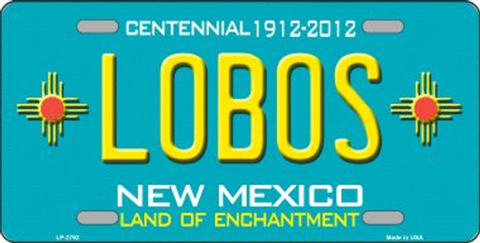 Lobos New Mexico Teal Wholesale Novelty Metal License Plate LP-2792