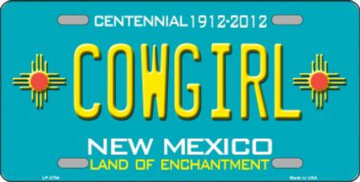 Cowgirl New Mexico Teal Wholesale Novelty Metal License Plate LP-2797