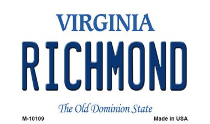 Richmond Virginia State License Plate Wholesale Magnet