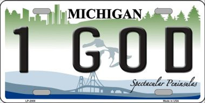 1 GOD Michigan State Wholesale Metal Novelty License Plate LP-2808