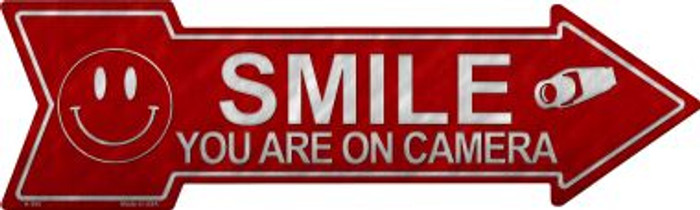 Smile You're On Camera Novelty Metal Arrow Sign Wholesale