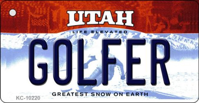 Golfer Utah State License Plate Wholesale Key Chain