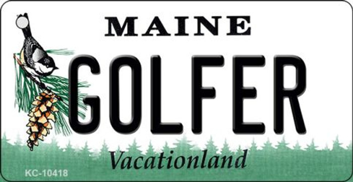 Golfer Maine State License Plate Wholesale Key Chain