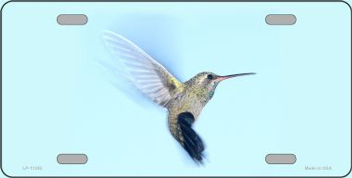Hummingbird - In Flight, Blue Background License Plate Novelty Metal Wholesale