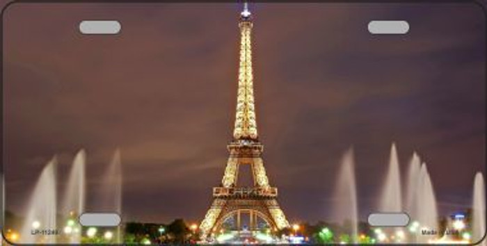 Eiffel Tower - Night With Fountain License Plate Novelty Metal Wholesale