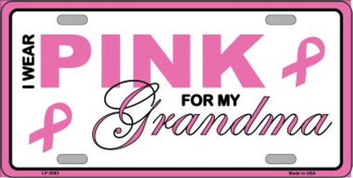 Pink For Grandma Wholesale Metal Vanity License Plate Sign