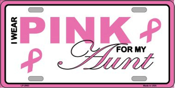 Pink For My Aunt Wholesale Metal Vanity License Plate Sign