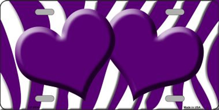 Purple White Zebra Print With Purple Centered Hearts Wholesale Novelty License Plate LP-2934