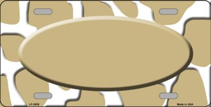 Gold White Giraffe Print With Gold Center Oval Wholesale Metal Novelty License Plate LP-2958