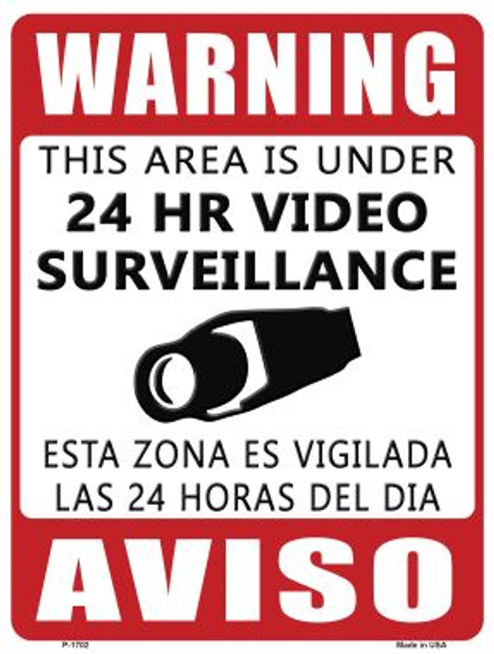 Warning This Area Is Under Video Surveillance Parking Sign Wholesale Novelty P-1702