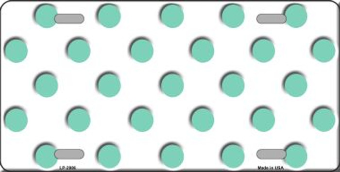 Mint White Polka Dot Wholesale Metal Novelty License Plate LP-2986
