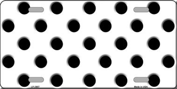 Black White Polka Dot Wholesale Metal Novelty License Plate LP-2987
