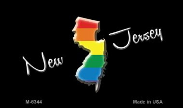 New Jersey State Outline Rainbow Wholesale Magnet