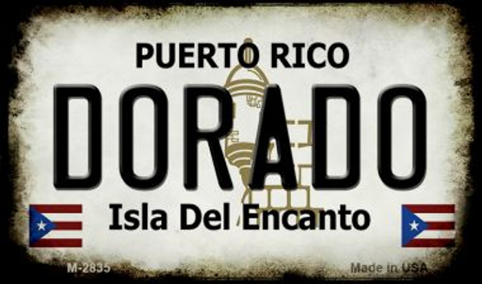 Dorado Puerto Rico State License Plate Wholesale Magnet