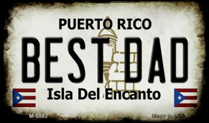 Best Dad Puerto Rico State License Plate Wholesale Magnet M-6862