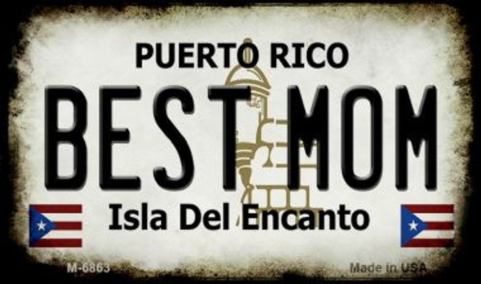 Best Mom Puerto Rico State License Plate Wholesale Magnet M-6863