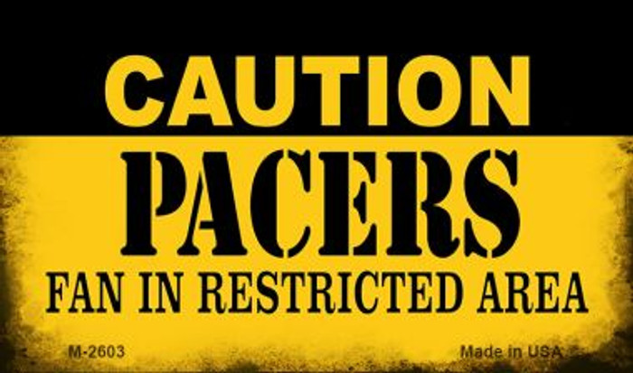 Caution Pacers Fan Area Wholesale Magnet M-2603